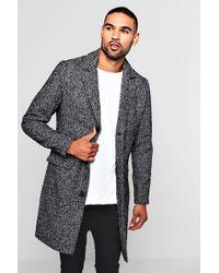 BoohooMAN - Wool Blend Fabric Overcoat - Lyst