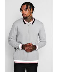 Boohoo - Zip Placket Rugby Jumper With Sports Rib - Lyst