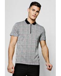 BoohooMAN - Check Metallic Jacquard Polo With Zip - Lyst