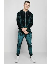 Boohoo - Man Velour Zip Hooded Tracksuit - Lyst
