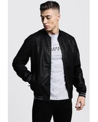 BoohooMAN Faux Leather Bomber Jacket
