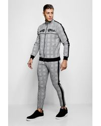 8d271619c36a0 Boohoo - Skinny Fit Embroidered Check Woven Tracksuit - Lyst