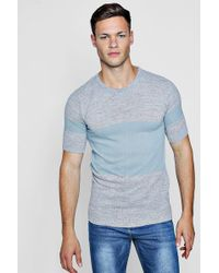 ae1c70ce77dc Boohoo Short Sleeve Ribbed Knit Stripe T-shirt for Men - Lyst