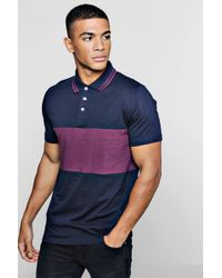 Boohoo - Short Sleeve Colour Block Polo With Tipping - Lyst
