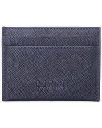 Boohoo - Real Leather Man Deboss Saffiano Card Holder - Lyst