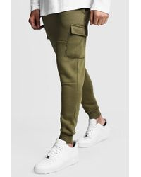 BoohooMAN - Skinny Fit Paneled Cargo Sweatpants - Lyst