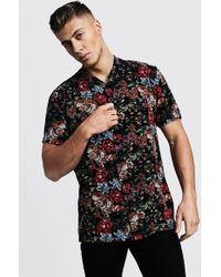 ff8c350f Lyst - BoohooMAN Red Floral Print Short Sleeve Shirt in Black for Men