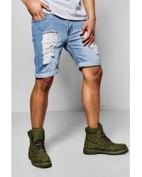 Boohoo - Skinny Fit Rigid Denim Shorts With Extreme Rips - Lyst