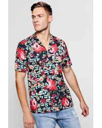 Boohoo - Glitch Floral Short Sleeve Revere Shirt - Lyst