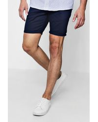 Boohoo - Mid Length Slim Fit Chino Short In Navy - Lyst
