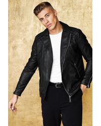 cca2b8dc5 Ted Baker Kennit Stab Stitch Front Leather Jacket in Black for Men ...