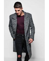 Boohoo - Textured 3/4 Smart Lined Overcoat - Lyst