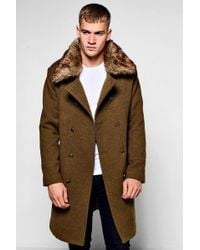 Boohoo - Military Overcoat With Detachable Faux Fur Collar - Lyst