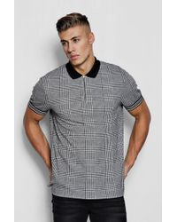 Boohoo - Check Jacquard Polo With Taped Cuff - Lyst