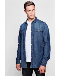 Boohoo - Long Sleeve Denim Western Shirt - Lyst