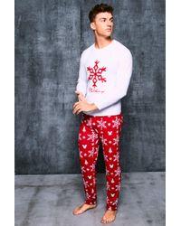BoohooMAN - Disney Christmas Mickey Loose Fit Pyjama Set - Lyst f035e8726