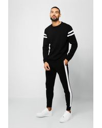 BoohooMAN - Knitted Sweater Tracksuit With Side Panels - Lyst