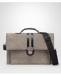 Bottega Veneta - Steel Suede Briefcase - Lyst