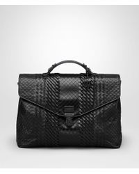 Bottega Veneta - Briefcase In Nero Intreccio Imperatore - Lyst