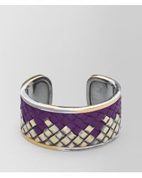 Bottega Veneta - Monalisa Oxidized Silver/leather Bracelet - Lyst