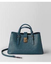Bottega Veneta - Small Roma Bag In Intrecciato Calf - Lyst