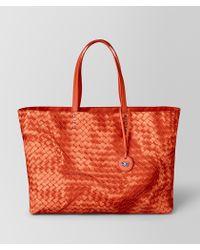 5badd8d9e0 Bottega Veneta Large Tote Bag In Oyster Intrecciolusion in Metallic ...