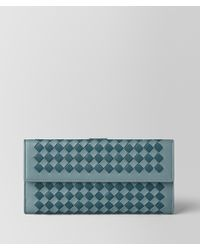 Bottega Veneta - French Wallet In Intrecciato Checker - Lyst