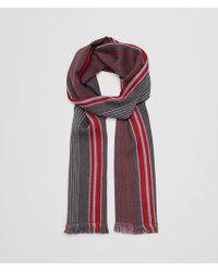 Bottega Veneta - Anthracite/red Wool Scarf - Lyst