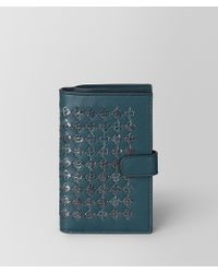 Bottega Veneta - French Wallet In Intrecciato Chequer And Ayers - Lyst