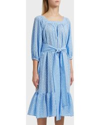 Lisa Marie Fernandez - Floral-embroidered Balloon-sleeve Cotton Dress - Lyst