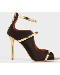 Malone Souliers - Mika Metallic Leather-trimmed Satin Sandals - Lyst
