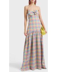 Caroline Constas - Bow-embellished Gingham Cloque Dress - Lyst