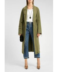 T By Alexander Wang - Pajama Distressed Cotton Trench Coat - Lyst