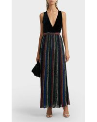 Missoni - V Neck Velvet Striped Lurex Maxi Dress - Lyst