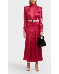 Alessandra Rich - Pleated Panelled Silk Satin Dress - Lyst