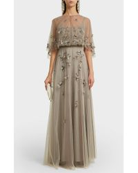Marchesa notte - Embroidered Tulle Gown - Lyst