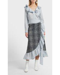 Ganni | Charron Ruffled Cotton-blend Skirt | Lyst