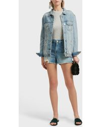 FRAME - Le Grand Garcon Cut Off Shorts, Size 30, Women, Blue - Lyst