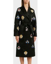 OSMAN - Margaux Embroidered Satin Coat, Size Uk10, Women, Black - Lyst