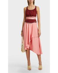 JW Anderson - Asymmetric Cotton And Satin Dress, Size Uk8, Women, Pink - Lyst