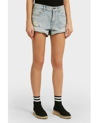 Alexander Wang - Hike Distressed Denim And Cotton Shorts - Lyst