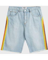 MSGM - Striped Denim Shorts - Lyst