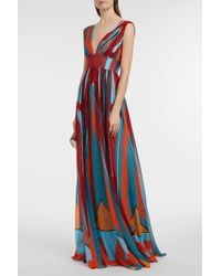 Silk-Blend Chiffon Maxi Dress Dhela