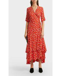 Ganni - Silvery Crepe Wrap Dress, Size Fr36, Women, Red - Lyst