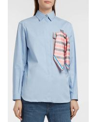 Marco De Vincenzo - Stretch-cotton Poplin Shirt, Size It38, Women, Blue - Lyst
