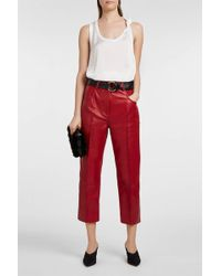 T By Alexander Wang - Knotted Satin And Stretch-cotton Tank - Lyst