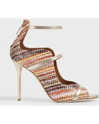 Malone Souliers - Mika Elaphe-trimmed Metallic Leather Sandals - Lyst
