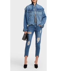 SJYP - Cropped Distressed Slim-leg Jeans - Lyst