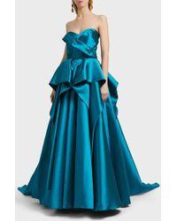 Marchesa - Strapless Mikado Ball Gown - Lyst