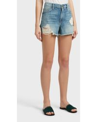 FRAME - Le Grand Garcon Cut Off Shorts - Lyst